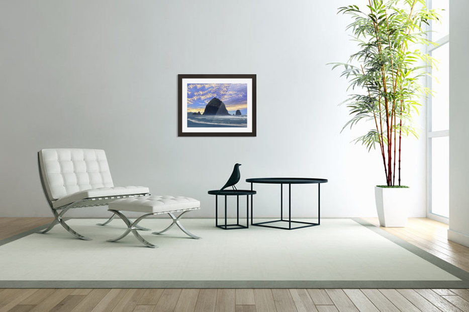 Haystack Rock at Cannon Beach in Custom Picture Frame