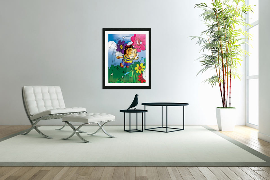 Happiness - Flower Power Buster Bee in Custom Picture Frame