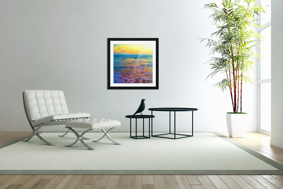 Yellow Sky at Manhattan Beach in Custom Picture Frame