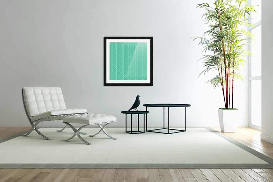 Aquamarine Checkers Pattern in Custom Picture Frame