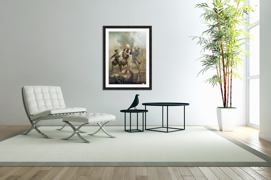 A painting of three men marching through a battle scene in Custom Picture Frame