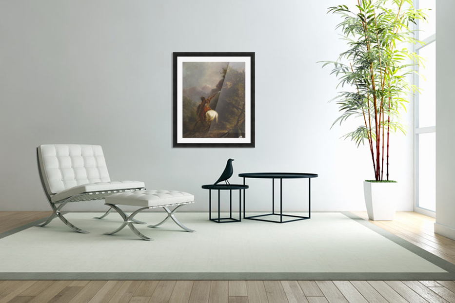 Indian Shooting a Cougar in Custom Picture Frame