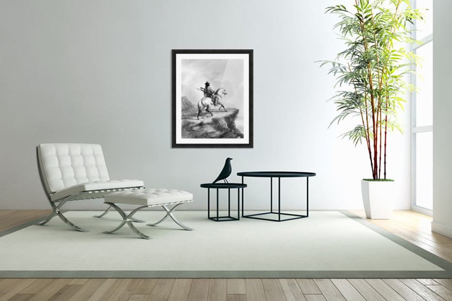 Crow Indian on the Lookout in Custom Picture Frame