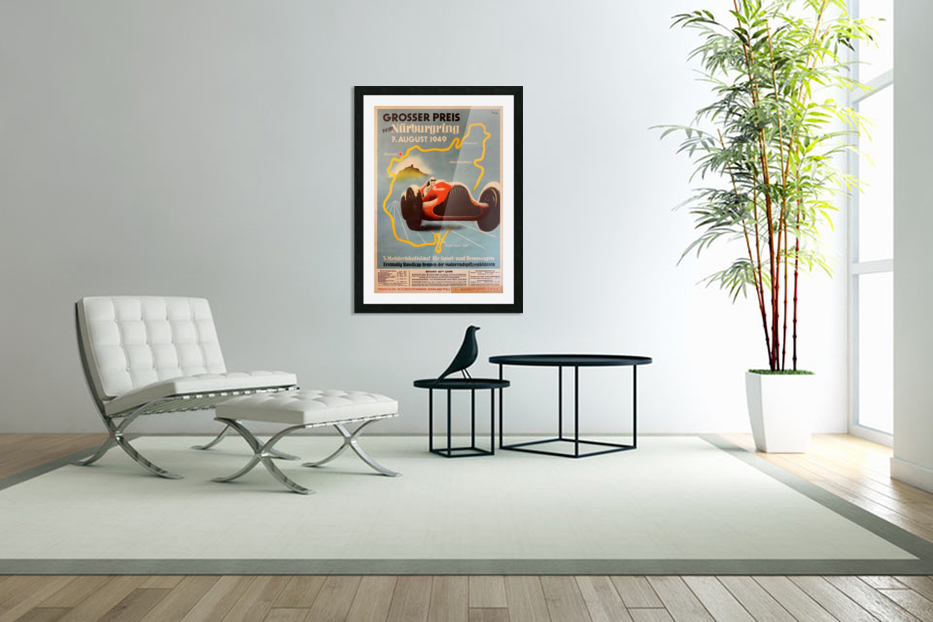Original Vintage Sports Car Racing Poster for the 1949 Nurburgring Grand Prix in Custom Picture Frame