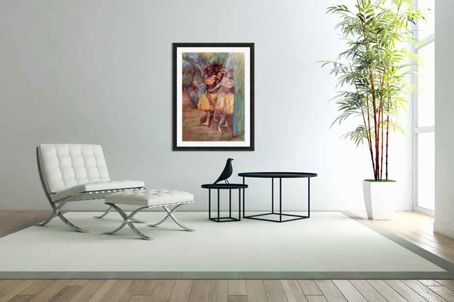 Three dancers behind the scenes by Degas in Custom Picture Frame