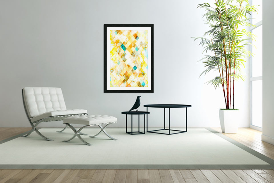 geometric pixel square pattern abstract in yellow brown blue in Custom Picture Frame