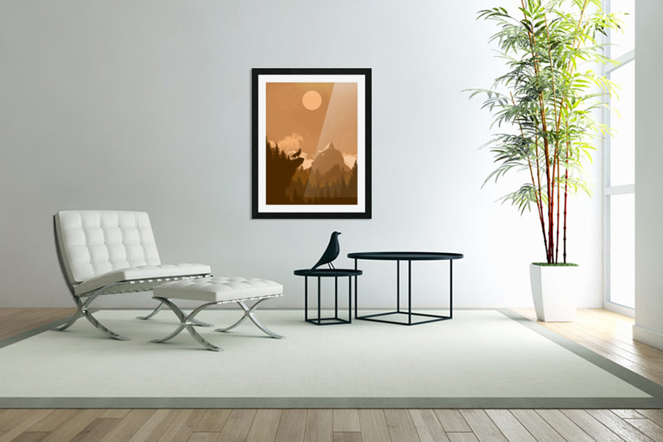Mountain Wolf Day in Custom Picture Frame
