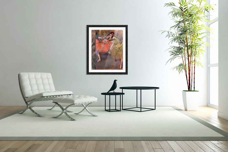 Two dancers behind the scenes by Degas in Custom Picture Frame