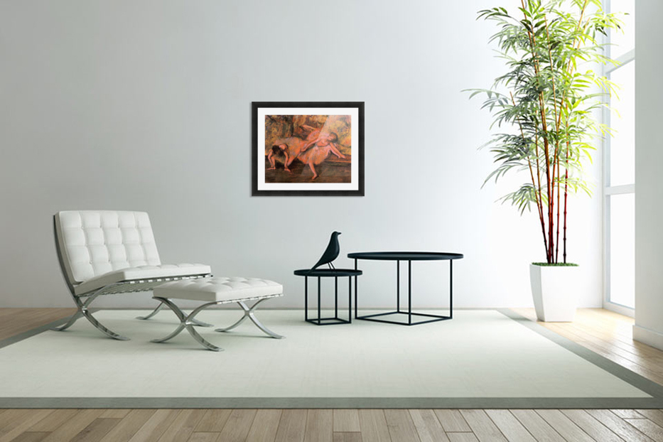 Two dancers on a bank by Degas in Custom Picture Frame