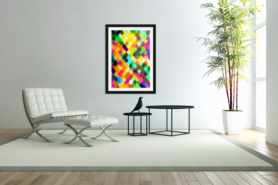 geometric square pixel pattern abstract background in yellow blue green pink orange in Custom Picture Frame