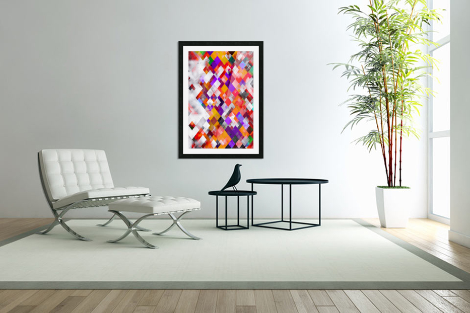 colorful geometric square pixel pattern abstract art in orange red purple in Custom Picture Frame