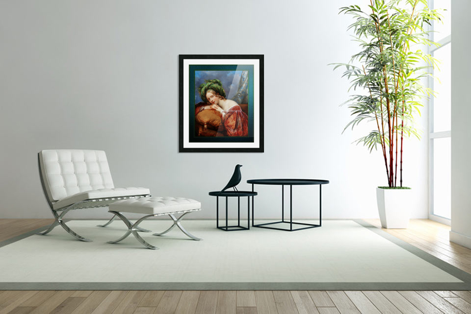 Dame Mit Grunem Turban by Aimee Pages-Brune Classical Fine Art Xzendor7 Old Masters Reproductions in Custom Picture Frame