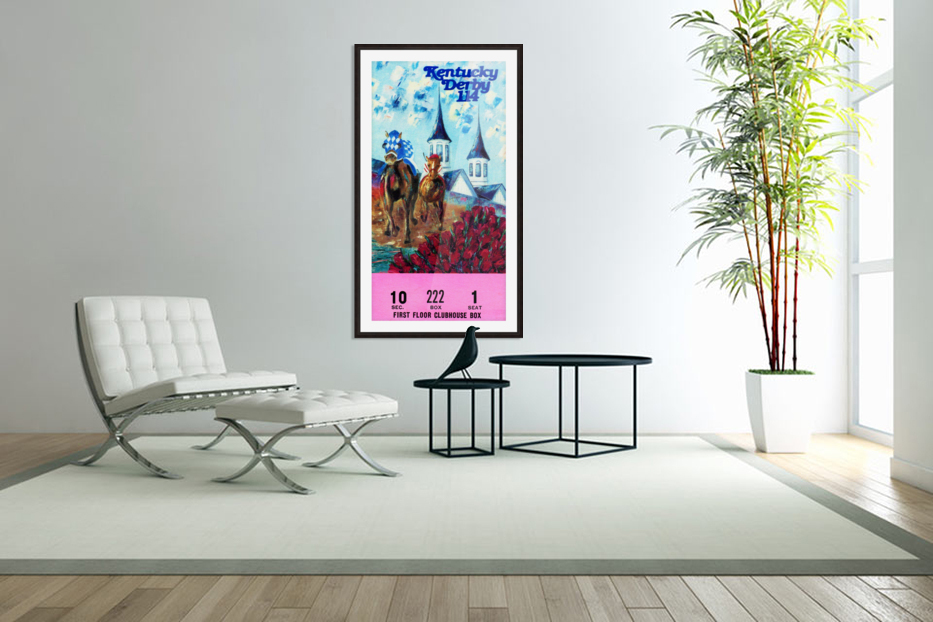 1988 Kentucky Derby Ticket Stub Canvas  in Custom Picture Frame