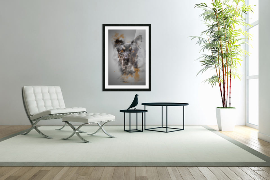 Chien in Custom Picture Frame