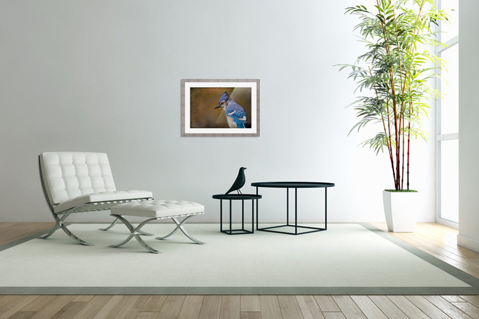 Blue Jay with texture in Custom Picture Frame