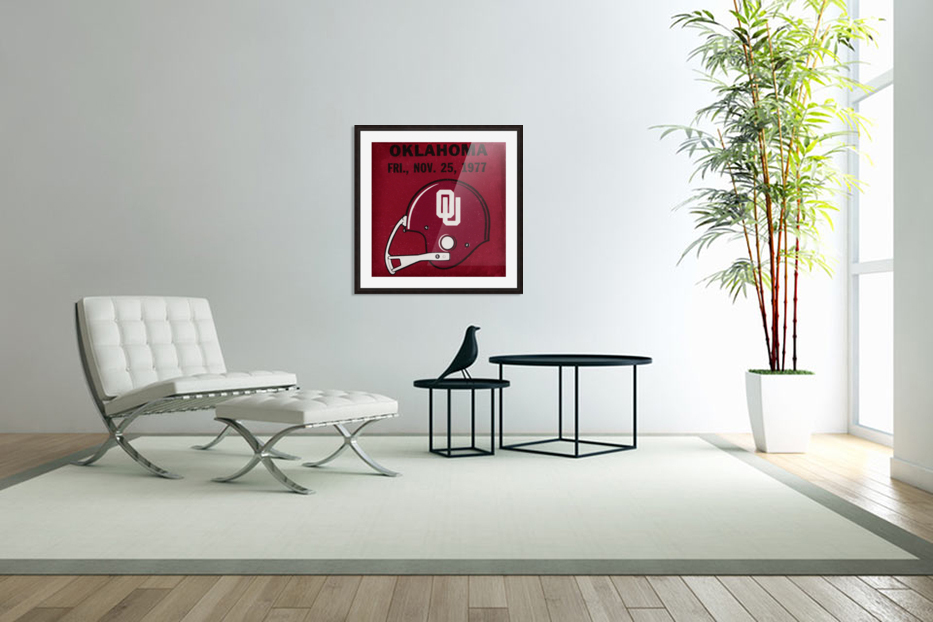 1977 Oklahoma Football Ticket Remix Row 1 in Custom Picture Frame