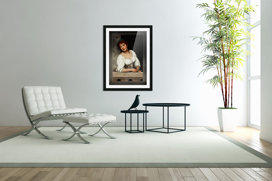 Girl At The Window by Eugen von Blaas Classical Art Xzendor7 Old Masters Reproductions in Custom Picture Frame