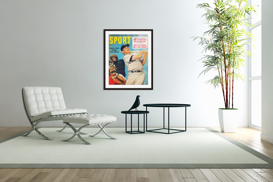 1960 Mickey Mantle Sport Cover Art in Custom Picture Frame