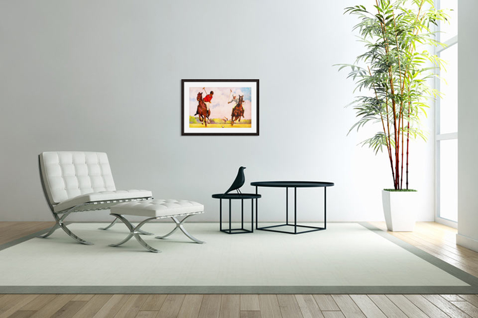 1933 Vintage Polo Art in Custom Picture Frame