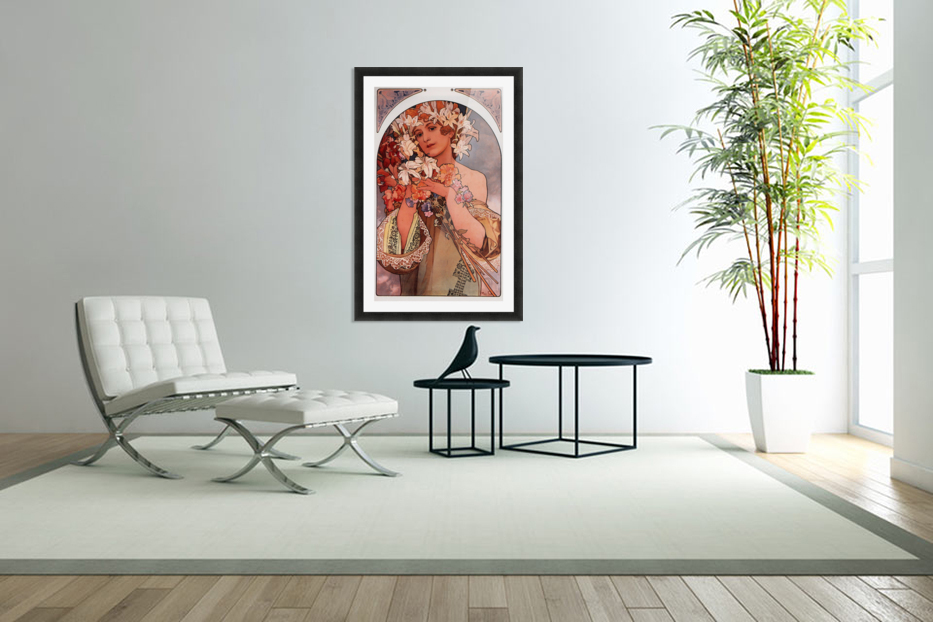 Flowers by Alphonse Mucha in Custom Picture Frame