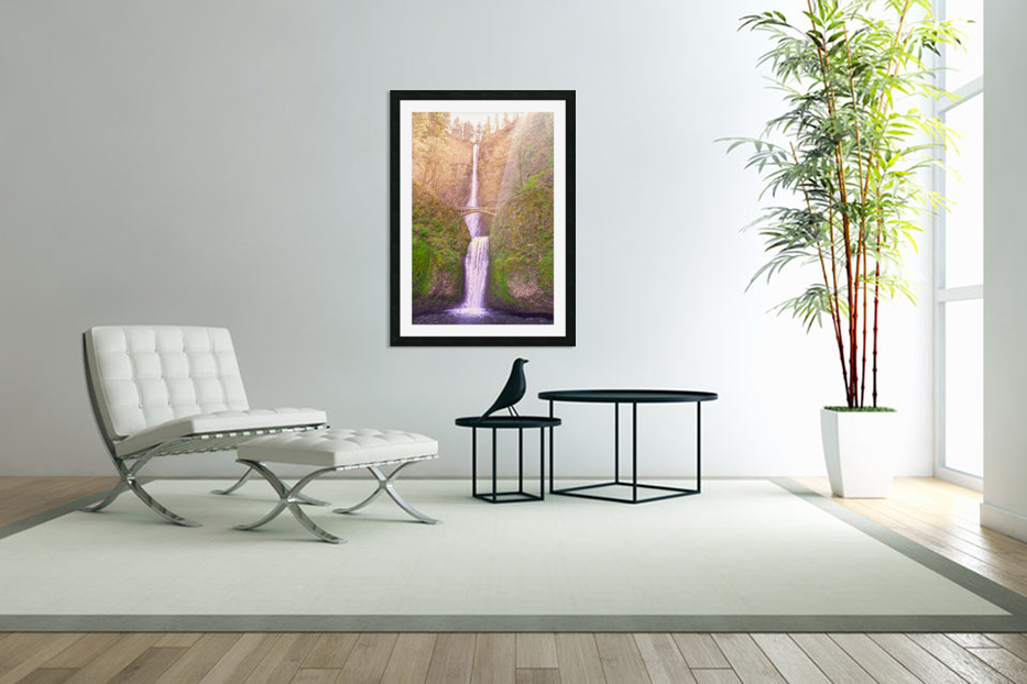 Multnomah Falls Bathed in Sunlight   Columbia River Gorge National Scenic Area   Oregon Pacific Northwest in Custom Picture Frame