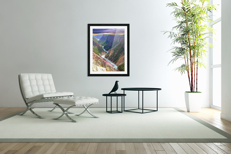 Grand Canyon of Yellowstone in the Waning Light of Day - Yellowstone National Park at Sunset in Custom Picture Frame