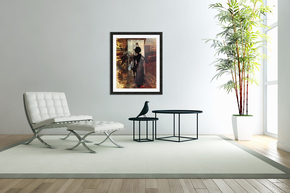 Woman in front of the painting White pastel picture by Giovanni Boldini in Custom Picture Frame