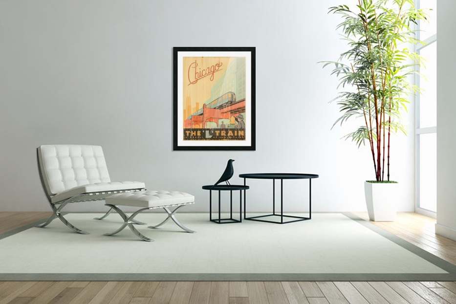 Chicago L Train Vintage Art Poster in Custom Picture Frame