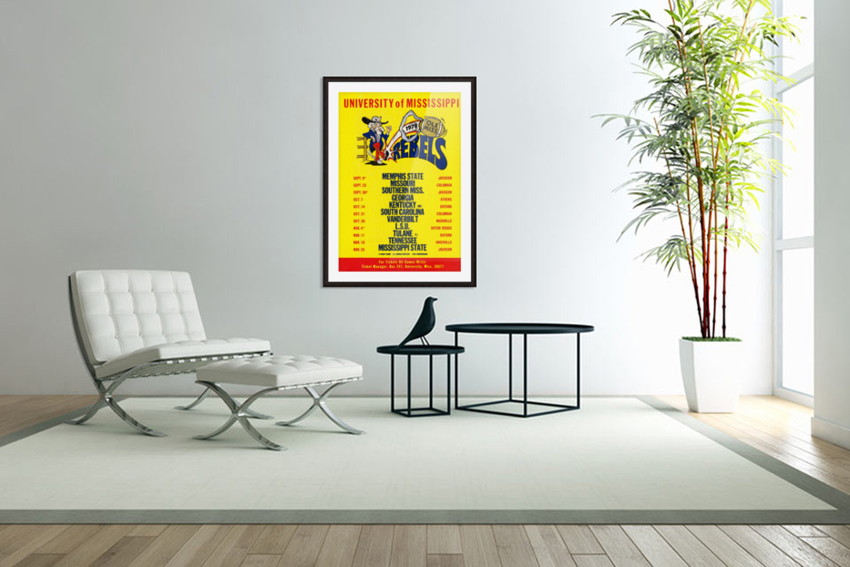 1978 Ole Miss Football Schedule Art in Custom Picture Frame