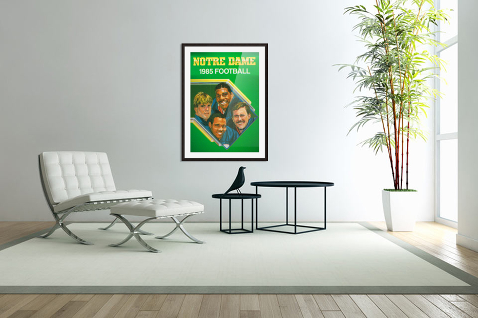 1985 Notre Dame Retro Football Poster in Custom Picture Frame