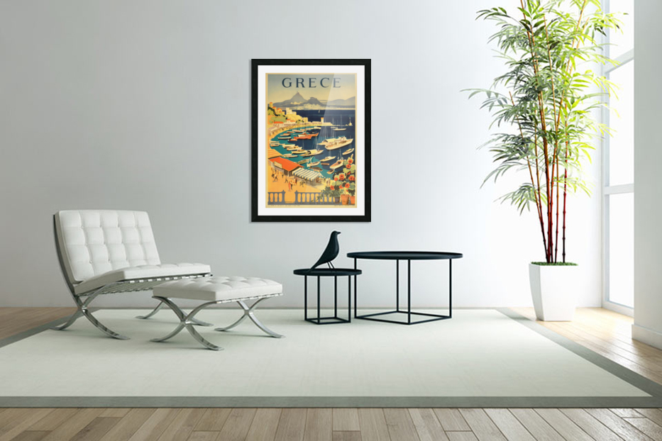 Greece original vintage travel poster in Custom Picture Frame