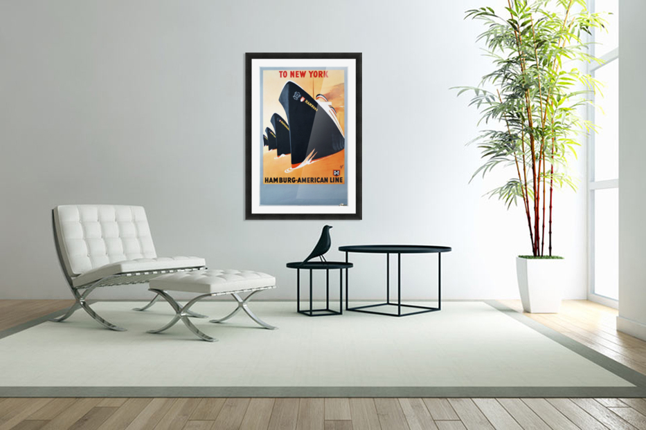 To New York Hamburg American Line travel poster in Custom Picture Frame