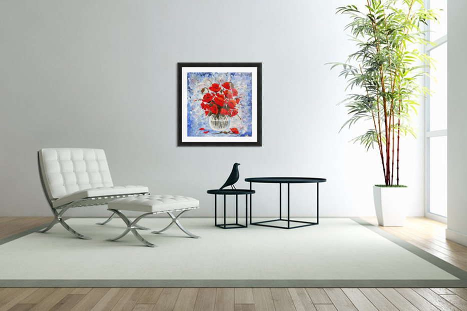 Morning Red Poppies original palette knife painting in Custom Picture Frame
