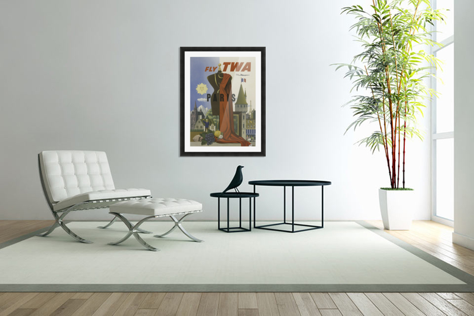 Fly TWA Paris Tourism Poster in Custom Picture Frame