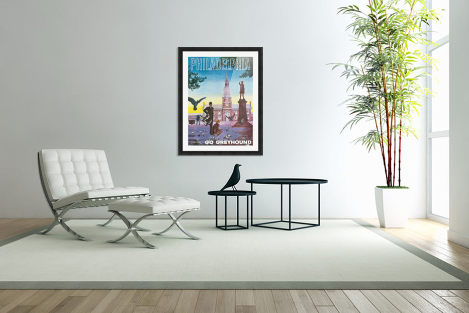 Greyhound Bus Travel Poster for Philadelphia in Custom Picture Frame