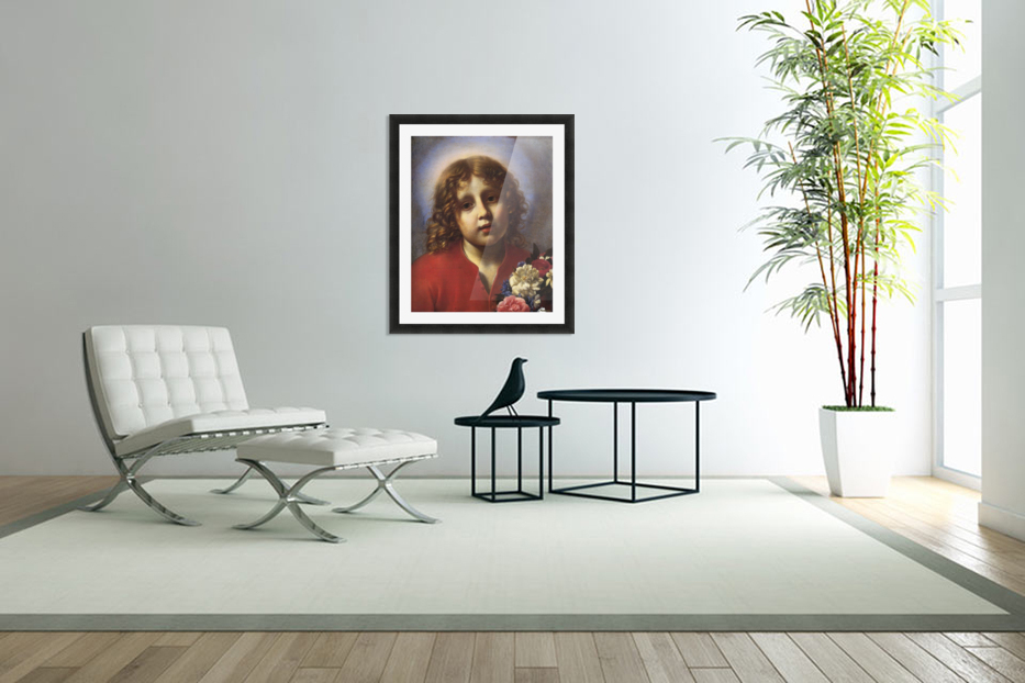 Child with flowers in Custom Picture Frame