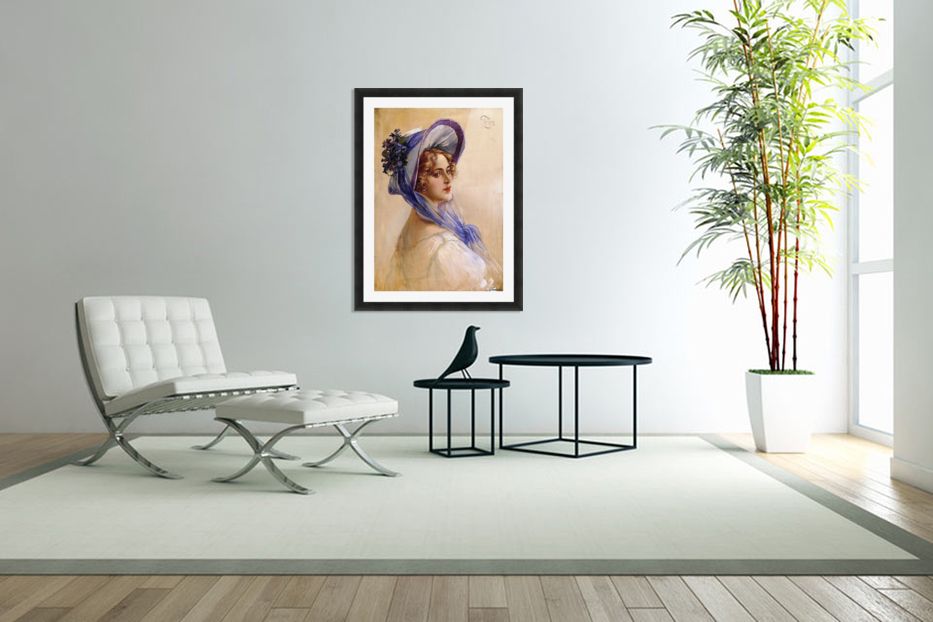 Youbg lady with purple hat in Custom Picture Frame