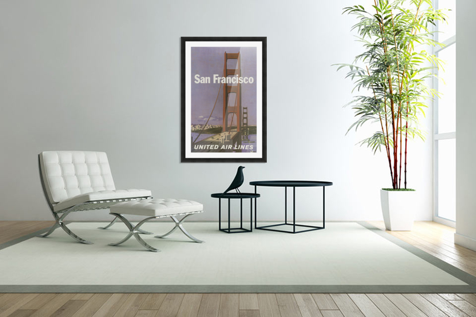 United Airlines Poster for San Francisco in Custom Picture Frame