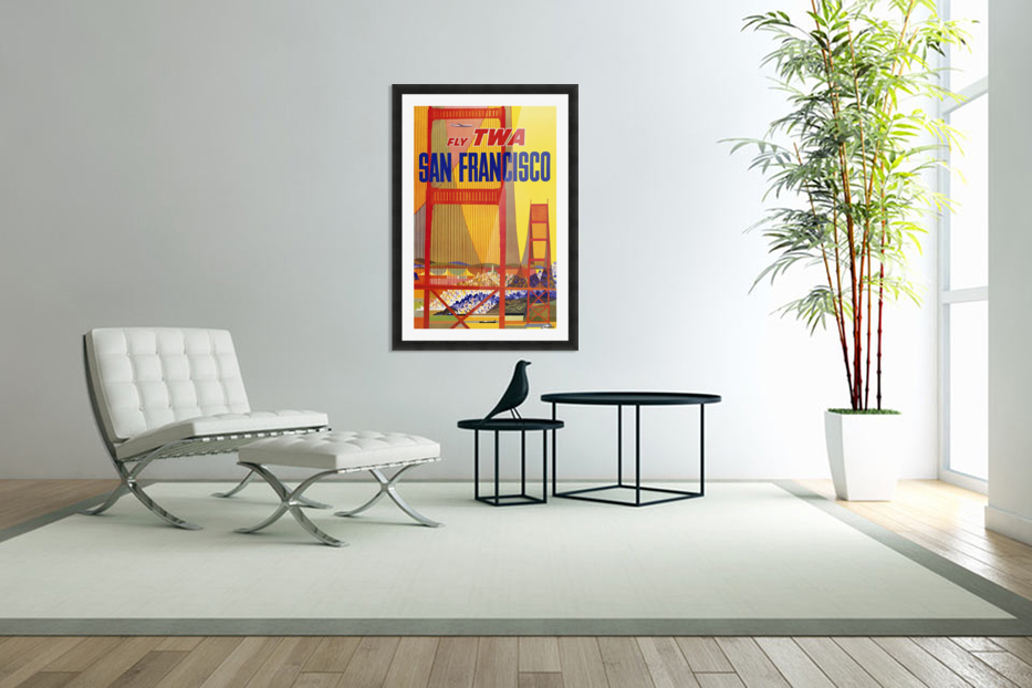 Fly TWA San Francisco poster in Custom Picture Frame