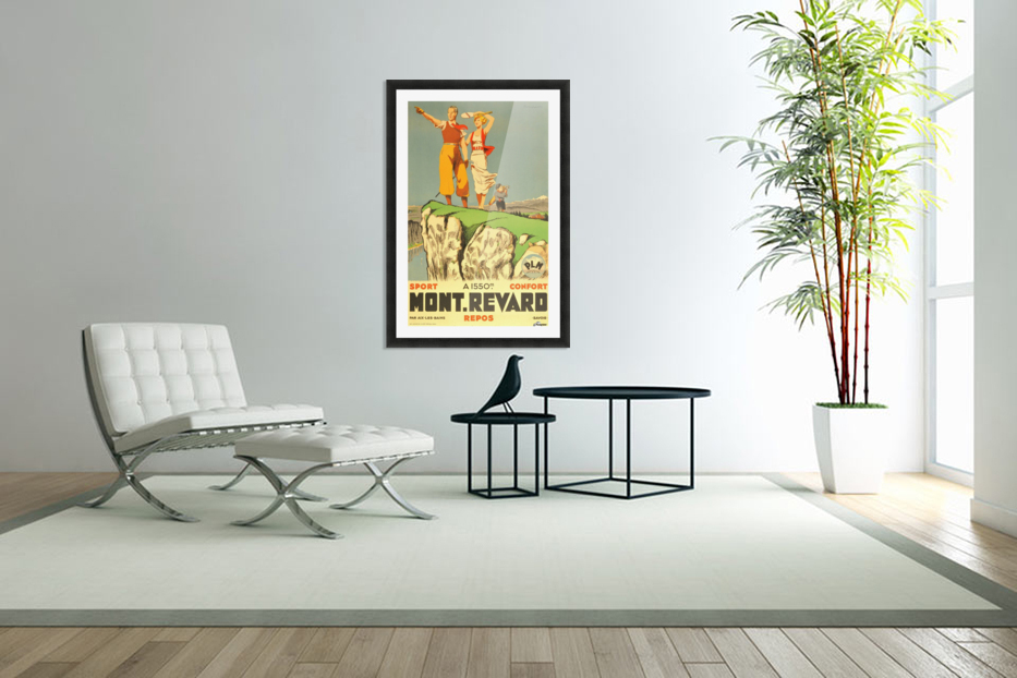 Original vintage poster from 1930 for Mont Revard in Savoie, France in Custom Picture Frame