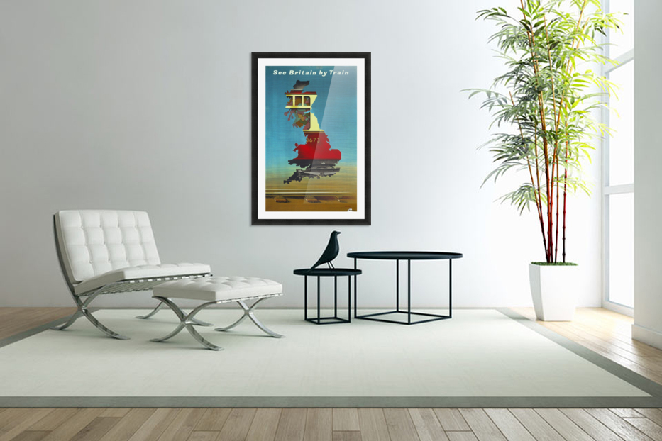 See Britain by Train, 1951 vintage poster in Custom Picture Frame