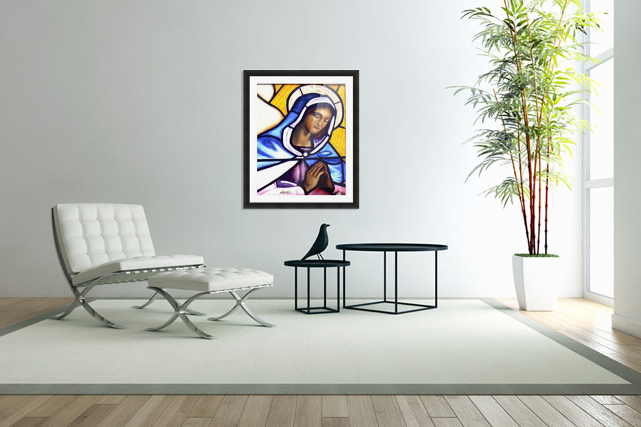 Mary in Glass in Custom Picture Frame