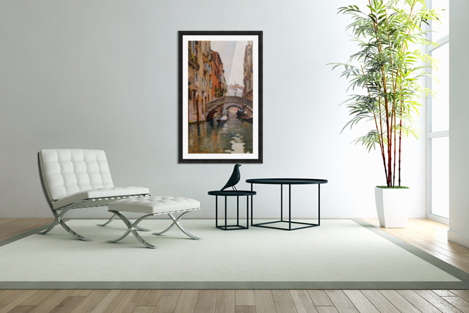 Gondola On a Venetian Canal in Custom Picture Frame