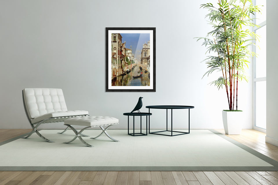 A Venetian Canal with the Scuola Grande di San Marco and Campo San Giovanni e Paolo in Custom Picture Frame
