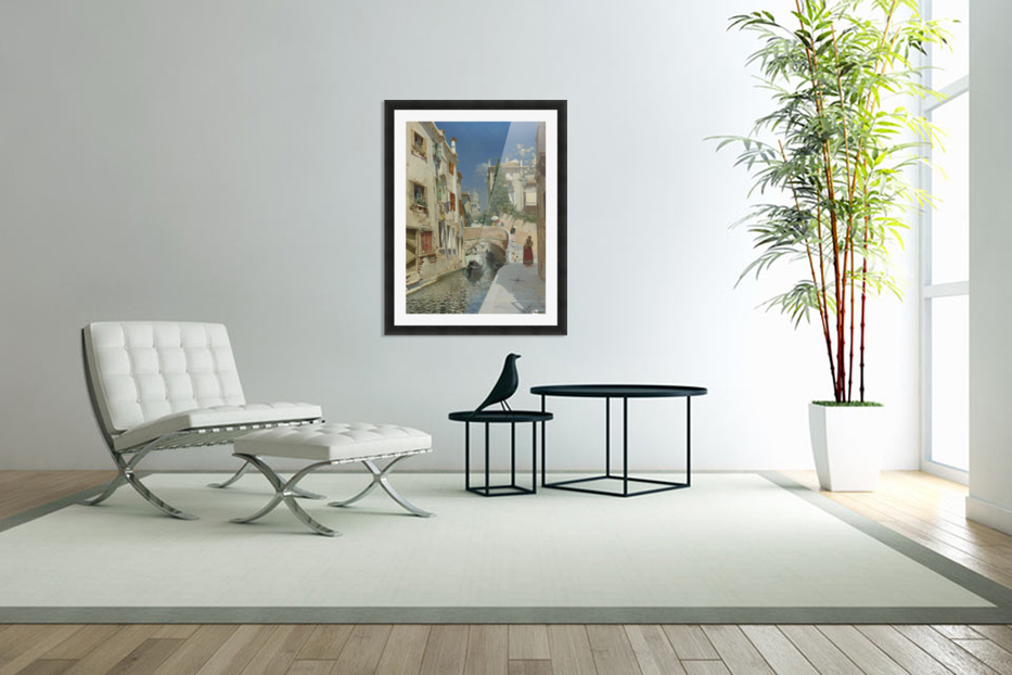Venetian canal with the campanile of the Frari in the distance in Custom Picture Frame
