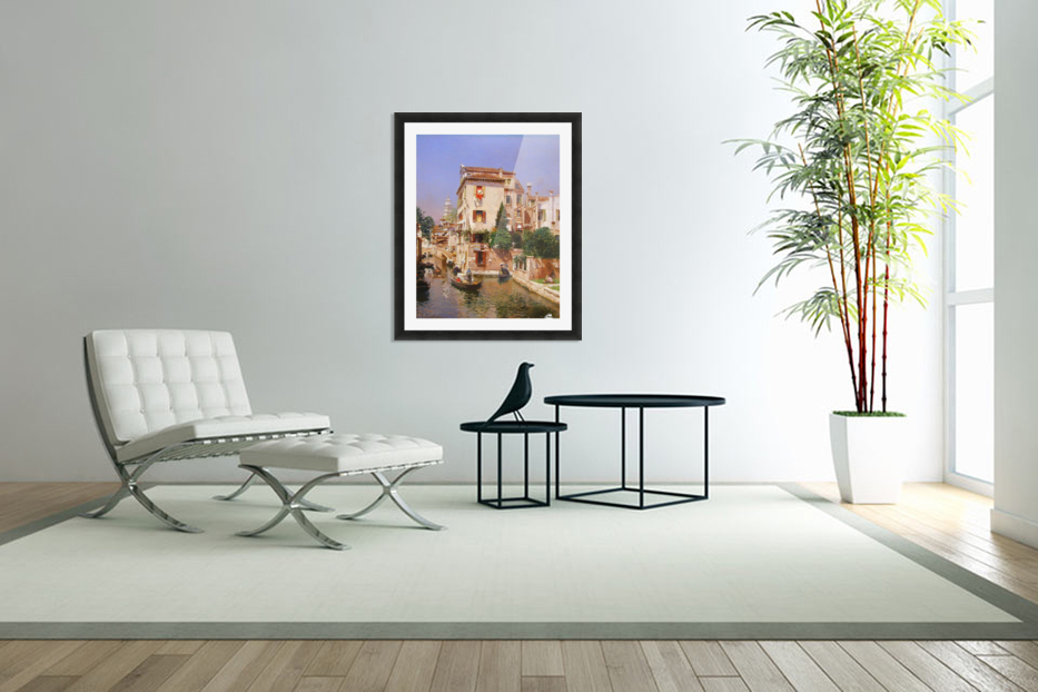 Gondoliers On A Venetian Canal in Custom Picture Frame