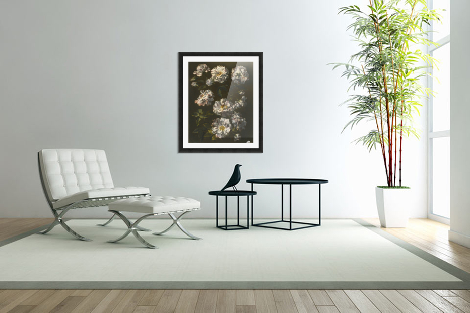 A study of striped white gallica roses in Custom Picture Frame