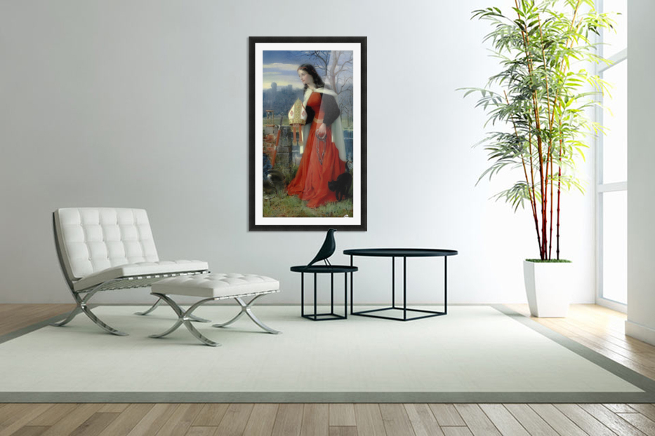 Allegorical Maiden in red dress in Custom Picture Frame