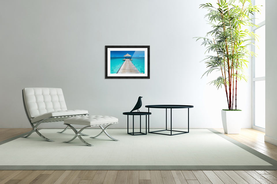 View of water bungalow in tropical island, Maldives, Indian ocean in Custom Picture Frame