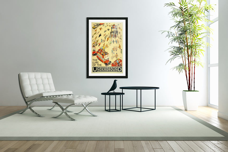 Vintage Travel Poster London Underground in Custom Picture Frame